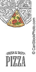 Poster with slice pizza Pepperoni, Hawaiian, Margherita, Mexican, Seafood, Capricciosa.