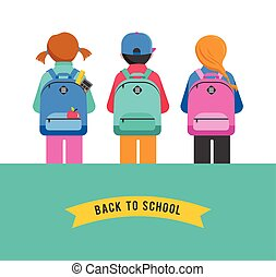 Poster with students, kids, backpacks. Back to school concept