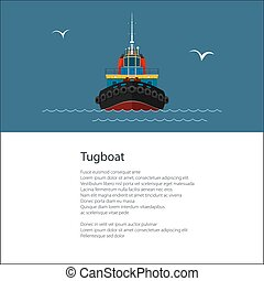 Poster with Tow Boat - Poster with Industrial Vessel Tugboat...