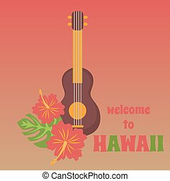 tropical palm leaves and flowers hibiscus flower hawaii with tribal guitar ukulele, exotic summer flower background