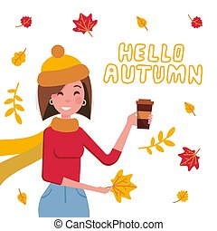 Poster with young girl with a takeaway coffee drink in a red sweater in autumn windy day. Autumn illustration with brunette young woman. Design with falling colorful leaves and hello autumn lettering