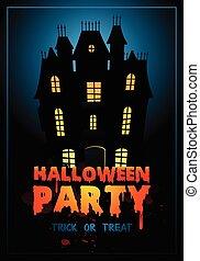 poster., woning, halloween, illustratie, vector, rondgespookte, vrolijke