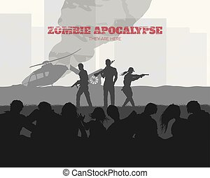 Poster Zombie apocalypse. Silhouettes of gunmans and dead peoples on helicopter background. Video game shooter. Horror thriller. Nightmare monsters. Vector ilustration