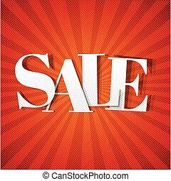 poster, zonnestraal, verkoop, rood