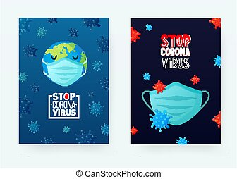 posters., covid-19, masque, coronavirus, arrêt, figure