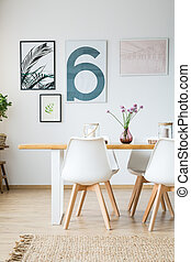 Posters in dining room