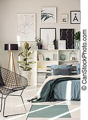Posters in modern bedroom interior