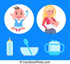 Posters Set with Baby Boy Sitting Bottle of Milk