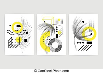 Posters set with bright bold geometric elements - Universal...