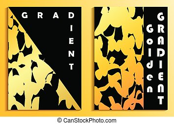 Posters with a golden gradient on a black background. Poster template design. Vector illustration