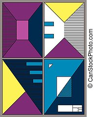 Posters with abstract forms, geometric style 80's, memphis. Retro-art for covers, banners, flyers and posters