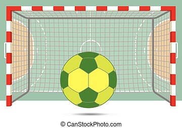 postes, aéreo, meta, balonmano, frente, tribunal, plano de ...