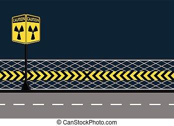 postes, advertencia, amarillo, de, el, peligro, de, radiación, en, calles de ciudad, plano de fondo