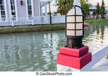 postes de la lámpara, en, un, muelle