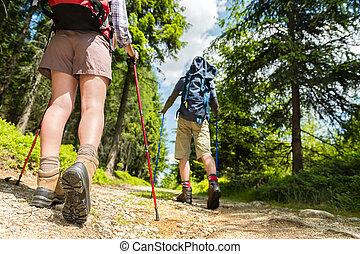 postes, excursionistas, viajando arduamente, ambulante