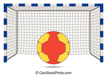 postes, pelota, blanco, meta, balonmano, red, plano de fondo...