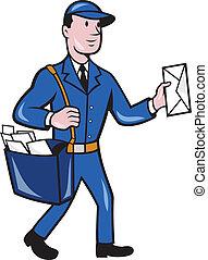 postier, facteur, ouvrier, isolé, livraison, dessin animé