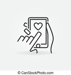 Posting Likes on Smartphone vector outline icon