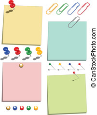 Postit notes on white - Postit notes in four colours with...