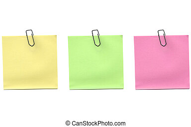 Postit - Yellow green and pink postit isolated over a white...