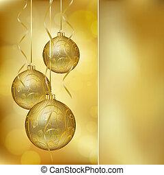 postkaart, gouden, abstract, kerstmis