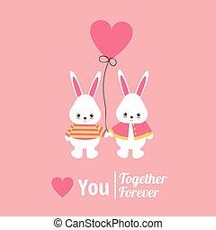postkaart, hart, liefde, konijn, balloon.
