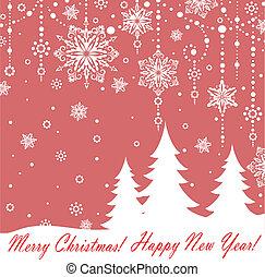 postkaart, kerstmis, rood