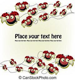 postkaart, ladybugs, gekke