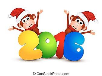 postkaart, monkeys., nieuw, 2016., jaar