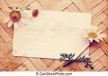 postkaart, oud, madeliefjes