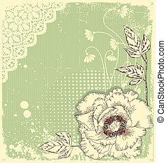 postkaart, ouderwetse , achtergrond, tekst, floral, .flowers