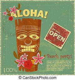 postkaart, ouderwetse , hawaiian