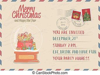 postkaart, ouderwetse , poststempel, kerstmis, postzegel