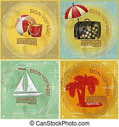 postkaart, ouderwetse , reizen, set