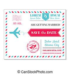 postkaart, ouderwetse , uitnodiging, -, thema, vector, kaart, trouwfeest, luchtpost