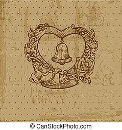 postkaart, ouderwetse , -, uitnodiging, vector, trouwfeest, plakboek, felicitatie