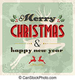 postkaart, ouderwetse , vrolijk, jaar, nieuw, kerstmis, ...