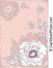 postkaart, peonies, bloemen