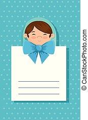 postkaart, schattig, weinig; niet zo(veel), baby jongen