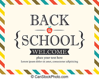 postkaart, school, achtergrond, back, mal
