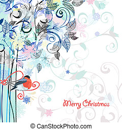 postkarte, design, mit, dekorativ, baum