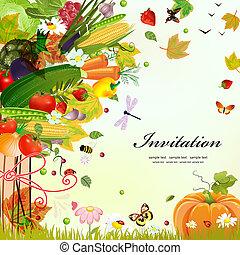 postkarte, design, mit, dekorativ, baum, gemüse