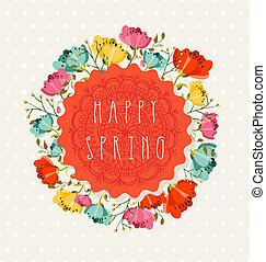 postkarte, frühlingsblume, glücklich