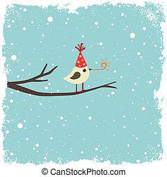 postkarte, mit, vogel