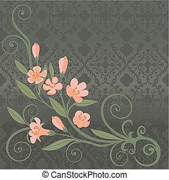 postkarte, rosa blüten