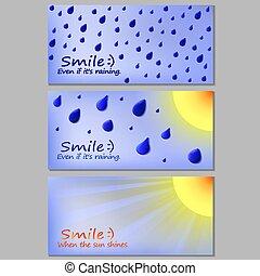 postkarte, sonne, motivation, wetter, regen