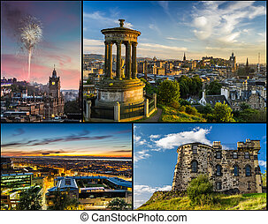 postkarte, von, edinburgh, in, sommer