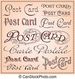 postkarte, weinlese, letterings