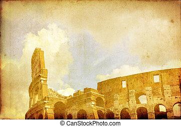 postkarte, weinlese, rom, coloseum