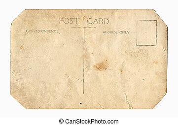 postkarte, weinlese, zurück